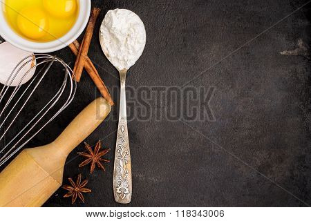 Baking background with sugar, flour, eggs, butter, spices