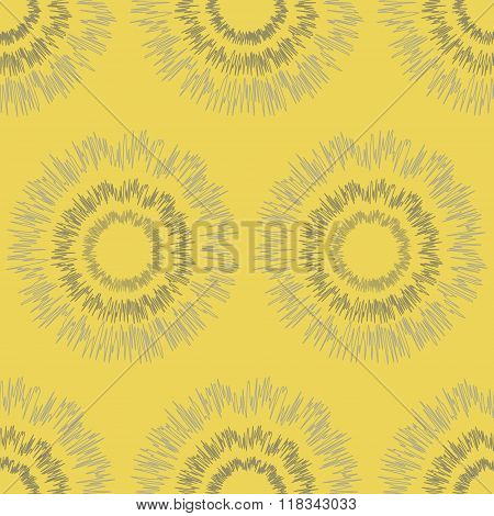Seamless Pattern Of Rounded Shapes With Fluctuating Lines