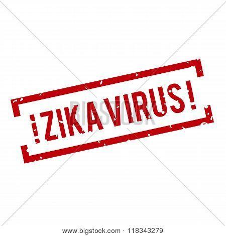 Red and white Zika Virus stamp.