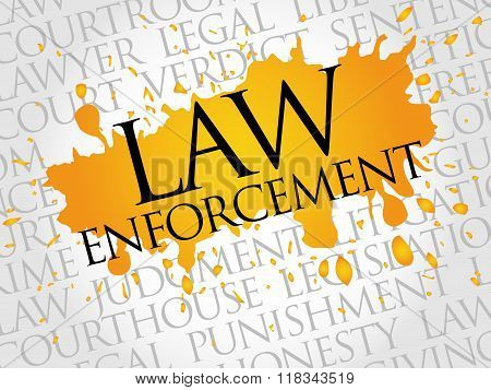 Law enforcement word cloud concept, presentation background