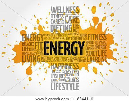 ENERGY word cloud health cross concept, presentation background