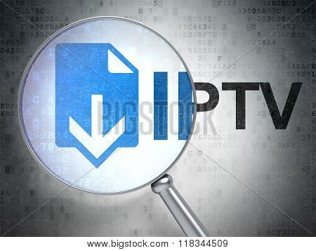 Web development concept: Download and IPTV with optical glass