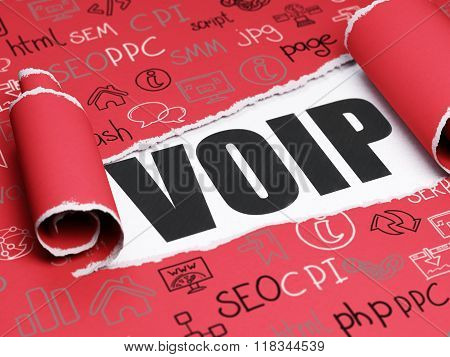 Web design concept: black text VOIP under the piece of  torn paper