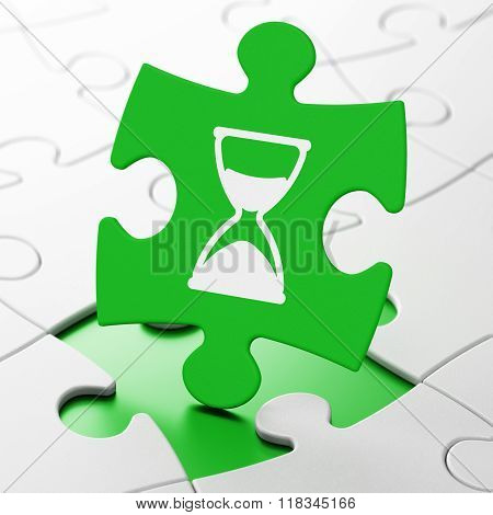 Timeline concept: Hourglass on puzzle background