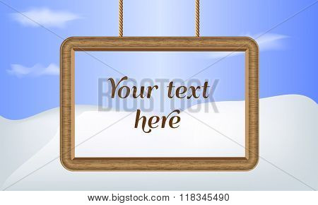 Illustrated vector background. Wood frame border. Place for your text