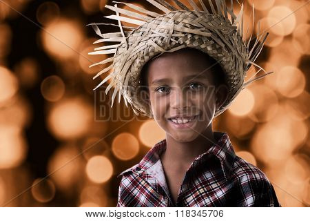 Brazilian boy wearing costume for Brazilian Junina Party