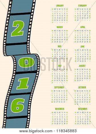 Calendar Design With Film Strip For 2016