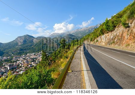 Mountain Road Over The Coast Of Budva, Montenegro