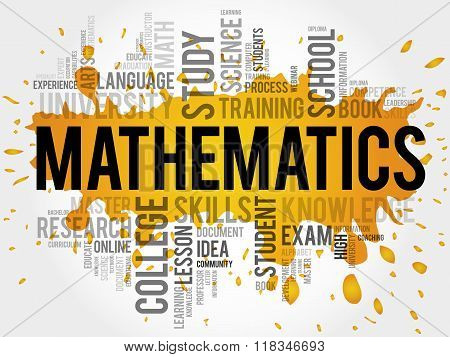 Mathematics word cloud education concept, presentation background