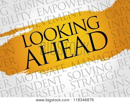 Looking ahead word cloud business concept, presentation background