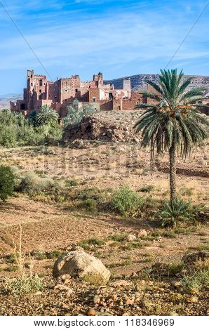 Ksar - old fortified castle in desert