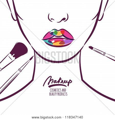 Vector Illustration Of Young Woman Face With Colorful Lips And Makeup Brushes.