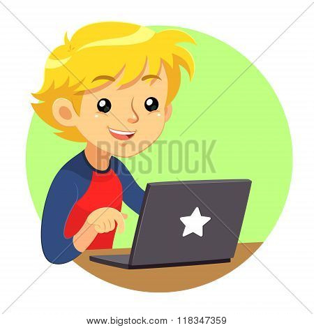 Boy Wearing Red And Blue Shirt Using Dark Grey Laptop