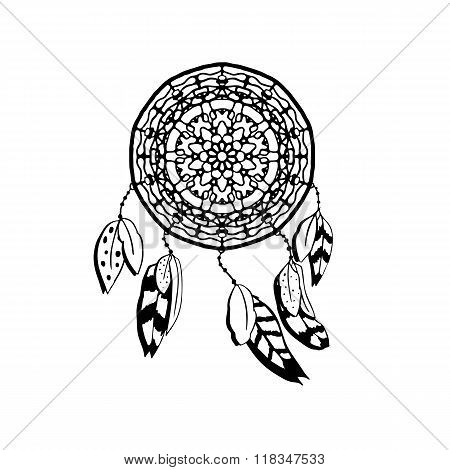 Hand drawn vector dreamcatcher