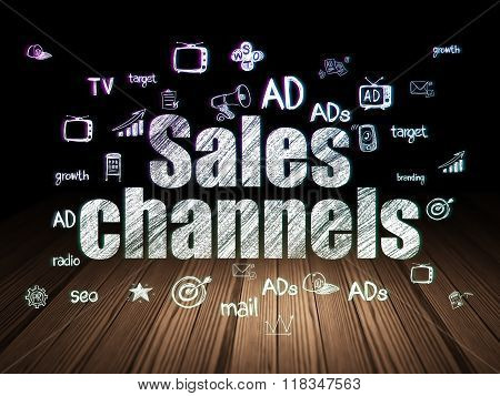 Marketing concept: Sales Channels in grunge dark room