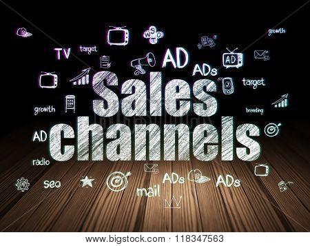 Marketing concept: Sales Channels in grunge dark room