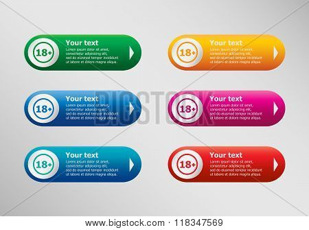 18 Plus Years Old Sign. Adults Content Icon And Infographic Design Template, Business Concept.