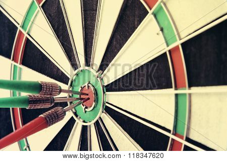 Darts bulls eye accurate close up photo