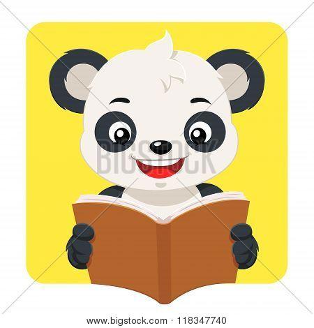 Little Panda Bear Reading A Brown Book