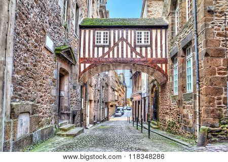 Wooden Brigde On Narrow Street In Saint-malo