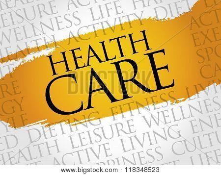 Health care word cloud health concept, presentation background