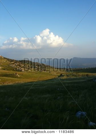 Mountain Landscape In Croatia Over Clouds Background