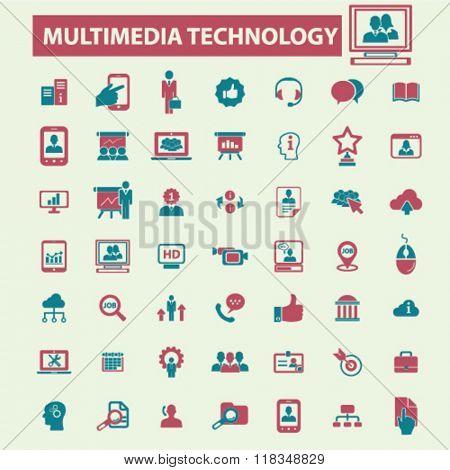 multimedia technology icons, interactive media icon, audio vector, video player icons