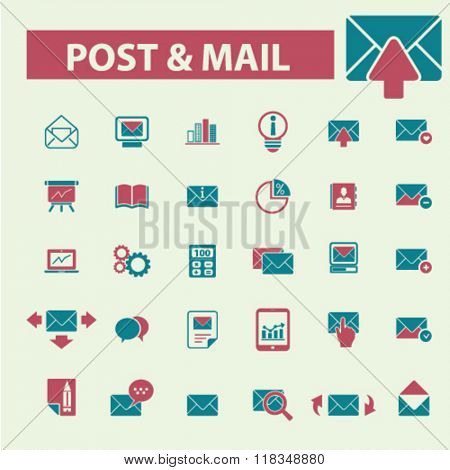 post, mail, email, message, mail icons
