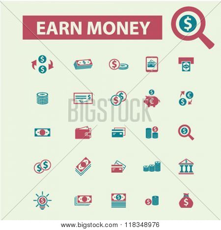earn money, money payment, icons, online money, cash icons