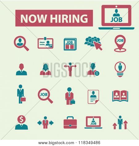 now hiring, career, human resources, job, cv icons
