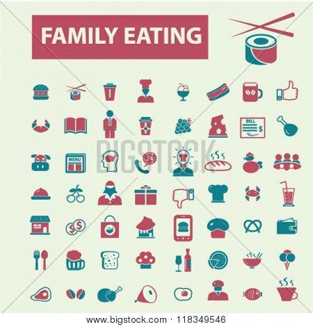 family eating, restaurant, restaurant menu, restaurant dinner icons