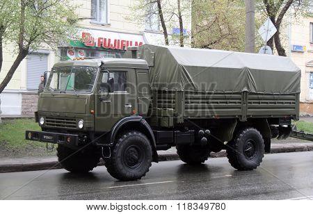 CHELYABINSK, RUSSIA - MAY 9: Army truck KamAZ-4350