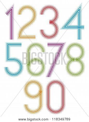 Poster Rounded Light Large Colorful Numbers With Stripes On White Background.