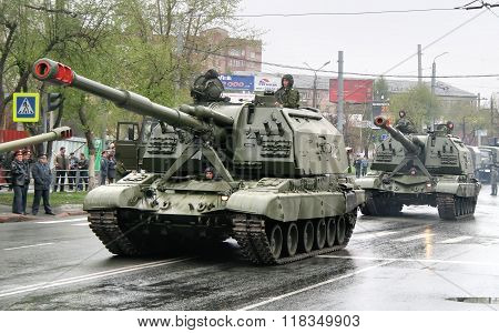 CHELYABINSK, RUSSIA - MAY 9: Mobile self-propelled heavy artillery 2S19