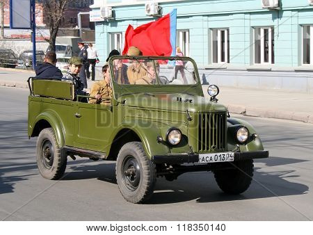 CHELYABINSK, RUSSIA - MAY 9: Command car GAZ-69 is exhibited at the annual Victory Parade on May 9, 2009 in Chelyabinsk, Russia.