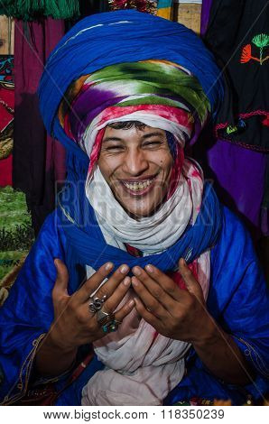 ESSAOUIRA, MOROCCO - September 18, 2015: Young unknown bedouin