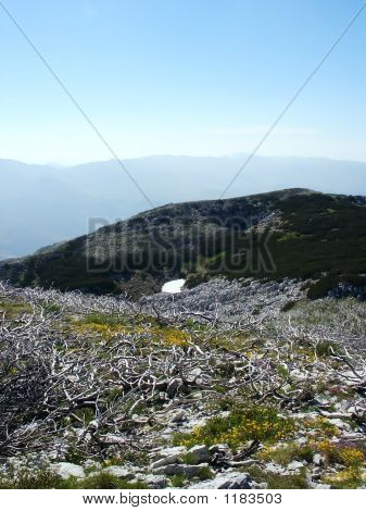 Mountain Landscape With Snow In Croatia Over Clouds Background 9