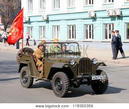 CHELYABINSK, RUSSIA - MAY 9: Command car GAZ-67B is exhibited at the annual Victory Parade on May 9, 2009 in Chelyabinsk, Russia.