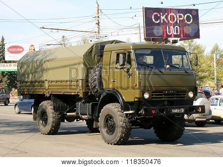 CHELYABINSK, RUSSIA - MAY 9: Army truck KamAZ-4350 Mustang exhibited at the annual Victory Parade on May 9, 2009 in Chelyabinsk, Russia.