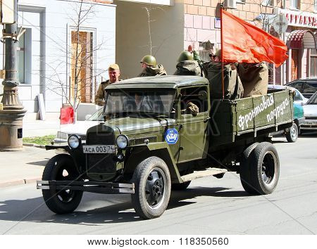 CHELYABINSK, RUSSIA - MAY 9: Soviet truck GAZ-MM exhibited at the annual Victory Parade on May 9, 2009 in Chelyabinsk, Russia.
