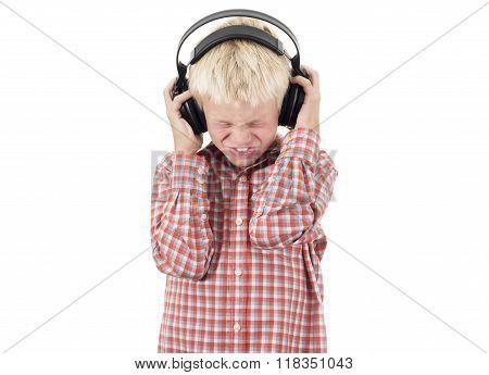 Teenager in earphones listens to music