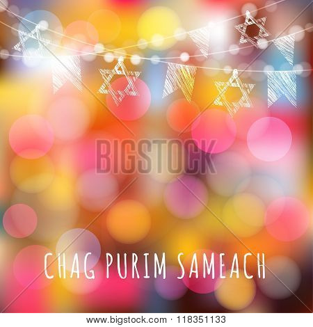 Chag Purim Greeting Card With Garland Of Lights And Jewish Stars, Jewish Holiday Concept, Vector