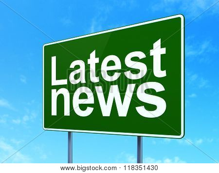 News concept: Latest News on road sign background