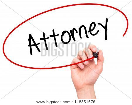 Man Hand Writing Attorney  With Black Marker On Visual Screen