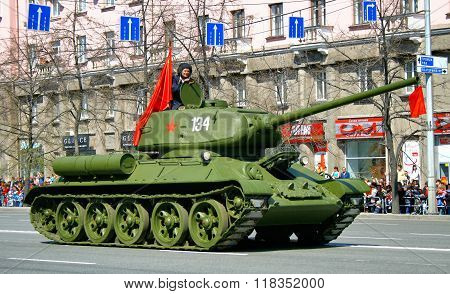 CHELYABINSK, RUSSIA - MAY 9: Soviet medium tank T-34 exhibited at the annual Victory Parade on May 9, 2011 in Chelyabinsk, Russia.