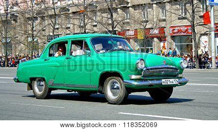 CHELYABINSK, RUSSIA - MAY 9: Soviet motor car GAZ-21
