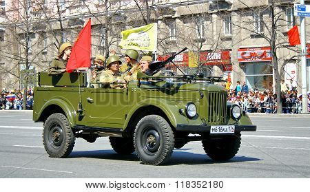 CHELYABINSK, RUSSIA - MAY 9: Command car GAZ-69 exhibited at the annual Victory Parade on May 9, 2011 in Chelyabinsk, Russia.