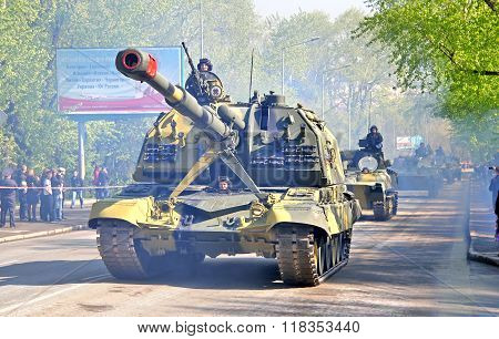YEKATERINBURG, RUSSIA - MAY 9: Mobile self-propelled heavy artillery 2S19