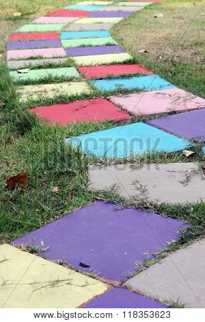 Colorful block walkway in the garden