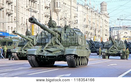 MOSCOW, RUSSIA - MAY 6: Mobile self-propelled heavy artillery 2S19